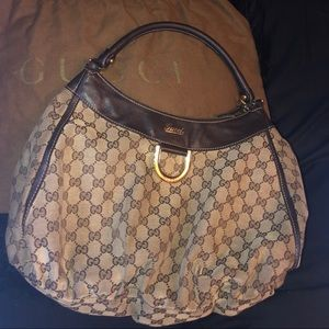 Gucci D-Gold Shoulder Bag Brown leather
